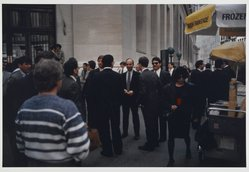 Howard Greenberg (American, born 1948). Wall Street, 1988. Type C print, Sheet: 16 x 19 7/8 in. Brooklyn Museum, Gift of the artist, 1990.113.1. © artist or artist's estate