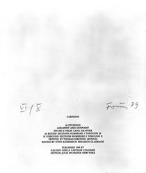 Gunther Forg (German, born 1952). Colophon, 1989. Printed text, Sheet (folio): 14 7/8 x 12 1/2 in. (37.8 x 31.8 cm). Brooklyn Museum, Helen Babbott Sanders Fund and John W. James Fund, 1990.123.17. © artist or artist's estate