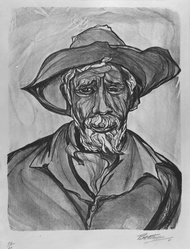 "Pablo O'Higgins (American, 1904-1983). Portrait of a Man, 1960. Lithograph on paper, sheet: 21 1/4 x 15 in. (54 x 38.1 cm). Brooklyn Museum, Gift of Pauline and Michael Klasfeld in memory of Norman ""Tippy"" Blum, 1990.168. © artist or artist's estate"