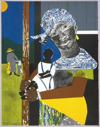 Romare Bearden (American, 1911-1988). Come Sunday, 1975. Color lithograph, 27 3/4 x 21 3/8in. (70.5 x 54.3cm). Brooklyn Museum, Gift of Bruce Teleky, 1990.170. © artist or artist's estate