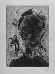 Walter Gramatté (German, 1897-1929). Man in Room: Self Portrait, 1923. Etching, sheet: 21 x 15 in. Brooklyn Museum, Alfred T. White Fund, 1990.214. © artist or artist's estate