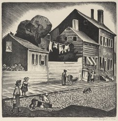 Mabel Dwight (American, 1876-1955). Old Greenwich Village, 1928. Lithograph on BFK Rives paper, Image: 9 9/16 x 9 1/2 in. (24.3 x 24.1 cm). Brooklyn Museum, Gift of Gertrude W. Dennis, 1991.153.14. © artist or artist's estate