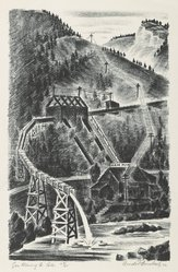 Arnold Ronnebeck (American, 1885-1947). Gem Mining Co., Colorado, 1932. Lithograph on wove paper, Image: 13 9/16 x 8 7/8 in. (34.5 x 22.5 cm). Brooklyn Museum, Gift of Gertrude W. Dennis, 1991.153.28. © artist or artist's estate