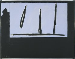 Robert Motherwell (American, 1915-1991). Open Three Black Lines, 1971-1972. Acrylic on canvas, 24 x 30 1/8 in. (61 x 76.5 cm). Brooklyn Museum, Gift of Mr. and Mrs. Alexander Liberman, 1991.277. © artist or artist's estate