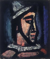 Georges Rouault (French, 1871-1958). Head of a Clown, 1930. Recto: Pastel and ink on wove paper Verso: Watercolor washes and ink on wove paper, 12 7/8 x 11 3/8 in. (32.7 x 28.9 cm). Brooklyn Museum, Gift of Lucile E. Selz, 1991.283.1. © artist or artist's estate