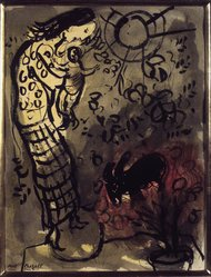 Marc Chagall (French, born Russia, 1887-1985). Mother and Child with Goat, n.d. Ink wash with watercolor on wove paper, 12 1/2 x 9 1/2 in. (31.8 x 24.1 cm). Brooklyn Museum, Gift of Mr. and Mrs. Alexander Liberman, 1991.296. © artist or artist's estate