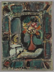 Georges Rouault (French, 1871-1958). Still Life with Clown, 1932. Oil on paper laid down on canvas, 17 3/4 x 13 1/4 in. (45.1 x 33.7 cm). Brooklyn Museum, Bequest of William K. Jacobs, Jr., 1992.107.34. © artist or artist's estate