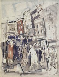 John Marin (American, 1870-1953). Movement, Nassau Street, No. 2, 1936. Black ink and watercolor with graphite pencil underdrawing on medium weight, wove paper with textured surface, 26 5/8 x 20 1/2 in. (67.6 x 52.1 cm). Brooklyn Museum, Bequest of Edith and Milton Lowenthal, 1992.11.26. © artist or artist's estate