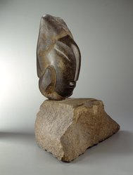 Jose de Creeft (American, born Spain, 1884-1982). Iberica, 1938. Stone, head of black porphory (?) and base of red granite (?), Overall: 24 7/16 x 23 3/4 x 14 1/8 in. (62.1 x 60.3 x 35.9 cm). Brooklyn Museum, Bequest of Edith and Milton Lowenthal, 1992.11.7a-c. © artist or artist's estate