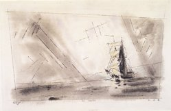 Lyonel Feininger (American, 1871-1956). The Brigantine, 1942. Black ink, watercolor, and gouache on handmade laid paper, 12 1/2 x 19 7/8 in. (31.8 x 50.5 cm). Brooklyn Museum, Bequest of Edith and Milton Lowenthal, 1992.11.9. © artist or artist's estate