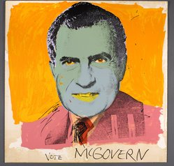 Andy Warhol (American, 1928-1987). Vote McGovern, 1972. Screenprint on paper, 41 11/16 x 41 11/16 in. (105.9 x 105.9 cm). Brooklyn Museum, Gift of Kenneth Walker, 1992.125. © artist or artist's estate