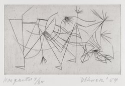 Dorothy Dehner (American, 1908-1994). Mosquito, 1954. Engraving, Sheet: 10 x 11 3/4 in. (25.4 x 29.8 cm). Brooklyn Museum, Gift of Dr. and Mrs. Arthur E. Kahn, 1992.183.2. © artist or artist's estate