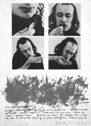 Vito Acconci (American, born 1940). Kiss Off, 1971. Black and white photograph and lipstick, 22 x 30 in. (55.9 x 76.2 cm). Brooklyn Museum, Gift of Dr. Steven Kazan, 1992.188. © artist or artist's estate