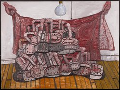 Philip Guston (American, born Canada, 1913-1980). Red Cloth, 1976. Oil on canvas, 78 x 105 1/2 in. (198.1 x 268 cm). Brooklyn Museum, Bequest of Musa Guston, 1992.211.2. © artist or artist's estate