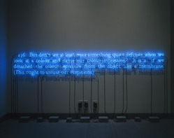 Joseph Kosuth (American, born 1945). 276.  (On Color Blue), 1993. Neon tubing, transformer, and electrical wires, 30 x 162 in. (76.2 x 411.48 cm). Brooklyn Museum, Mary Smith Dorward Fund, 1992.215. © artist or artist's estate