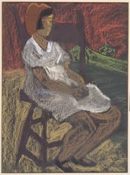 Sally Avery (American, 1902-2002). Child Seated, n.d. Pastel and crayon on paper, 16 1/2 x 12 1/2 in. (41.9 x 31.8 cm). Brooklyn Museum, Bequest of Ivor Green and Augusta Green, 1992.271.13. © artist or artist's estate