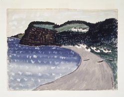 Milton Avery (American, 1885-1965). Cottage in Cove. Opaque and transparent watercolor on paper, Sheet: 22 1/2 x 30 1/2 in. (57.2 x 77.5 cm). Brooklyn Museum, Bequest of Ivor Green and Augusta Green, 1992.271.7. © artist or artist's estate