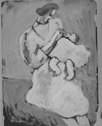 Milton Avery (American, 1885-1965). Mother and Child, 1932. Gouache on black paper, Sheet: 24 x 18 in. (61 x 45.7 cm). Brooklyn Museum, Bequest of Ivor Green and Augusta Green, 1992.271.8. © artist or artist's estate