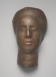 Saul Baizerman (American, 1889-1957). Mask, ca. 1940s. Hammered copper, 14 x 8 1/2 x 6 1/4 in. (35.6 x 21.6 x 15.9 cm). Brooklyn Museum, Gift of Irene Worth in honor of Joan Hay Baizerman, 1992.52.1. © artist or artist's estate