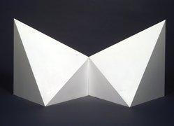 Sol LeWitt (American, 1928-2007). Double Pyramid #2, 1986. Painted wood, 39 x 78 x 39 in. (99.1 x 198.1 x 99.1 cm). Brooklyn Museum, Gift of the artist, 1993.100a-b. © artist or artist's estate
