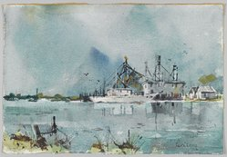 Edgar A. Whitney (1894-1987). Louisiana Bayou, ca. 1955(?). Watercolor and charcoal on wove paper, 14 7/8 x 21 3/4 in. (irreg.). Brooklyn Museum, Gift of Robert E. Blum, 1993.119.1. © artist or artist's estate