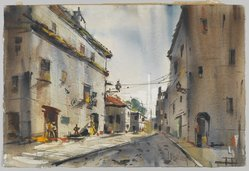 Edgar A. Whitney (1894-1987). Buildings in Abufeira, Portugal, ca. 1955(?). Watercolor and graphite on wove paper, 15 x 22 1/2 in. (irreg.). Brooklyn Museum, Gift of Robert E. Blum, 1993.119.2. © artist or artist's estate
