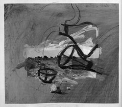 Yaacov Hefetz (Israeli, born 1928). Border Drawing, 1980s. Paint, photograph, charcoal, and graphite on paper, sheet: 9 3/4 x 11 1/4 in. (24.8 x 28.6 cm). Brooklyn Museum, Gift of Samuel B. Bacharach, 1993.127.9. © artist or artist's estate