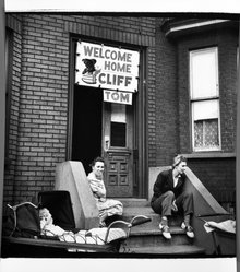 George Gilbert. Welcome Home: Spring 1946, Red Hook District, Brooklyn, N.Y., March,1946. Gelatin silver photograph, Image: 8 x 8 in. (20.3 x 20.3 cm). Brooklyn Museum, Gift of the artist, 1993.131.1. © artist or artist's estate