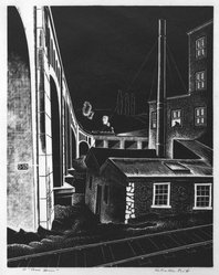 Salvatore Pinto (American, 1905-1966). Powerhouse, ca. 1941. Wood engraving on laid paper, Image: 8 7/8 x 6 3/4 in. (22.5 x 17.2 cm). Brooklyn Museum, Emily Winthrop Miles Fund, 1993.133.2. © artist or artist's estate