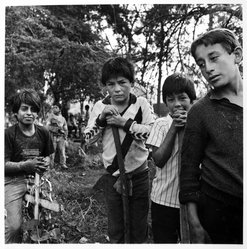 Bastienne Schmidt. Patzcuaro, Mexico, Children Working in Cemetery from the Vivir la Muerte, Death and Rituals in South America Series. Gelatin silver photograph on photographic paper Brooklyn Museum, Gift of the artist, 1993.15.1. © artist or artist's estate