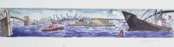 Red Grooms (American, born 1937). Design for Staten Island Ferry, 1992. Watercolor and graphite on paper, 9 7/8 x 29 3/4 in. (25.1 x 75.6 cm). Brooklyn Museum, Purchased with funds given by Mrs. James H. Hunter, 1993.17.2. © artist or artist's estate