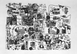 """Oyvind Fahlstrom (Swedish, born Sao Paulo, Brazil, 1928-1976). Suggestions for """"The Cold War,"""" 1974. Silkscreen, 27 1/2 x 39 3/16 in. (69.8 x 99.5 cm). Brooklyn Museum, Gift of Sharon Avery Fahlstrom, 1993.220.4. © artist or artist's estate"""