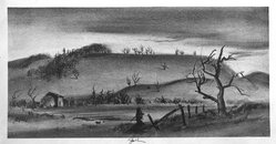 John C. Menihan (American, 1908-1992). Landscape with Hunter, ca. 1938. Lithograph on cream-colored wove paper, Image: 7 1/8 x 14 9/16 in. (18.1 x 37 cm). Brooklyn Museum, Gift of the family of John C. Menihan, 1993.223.4. © artist or artist's estate