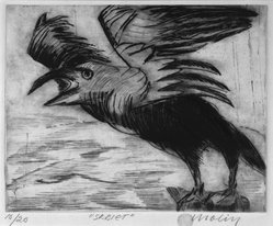 Brita Molin (Swedish, born 1919). Scream, 1988. Etching and drypoint on thick wove Hahnemuhle paper, 9 x 11 1/4 in. (22.9 x 28.6 cm). Brooklyn Museum, Gift of Dr. Carl Molin, 1993.84. © artist or artist's estate