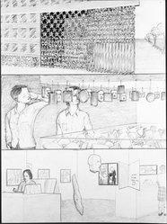 Jim Shaw (American, born 1952). Dream Drawing (A Jenny Holzer made of...), 1993. Graphite on paper, 12 x 8 7/8 in. (30.5 x 22.5 cm). Brooklyn Museum, Caroline A.L. Pratt Fund, 1994.127. © artist or artist's estate