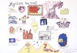 Niki de Saint Phalle (French, 1930-2002). My Love We Won't, 1968. Lithograph, 20 x 28 3/4 in. Brooklyn Museum, Gift of Alexander Liberman, 1994.215.7. © artist or artist's estate