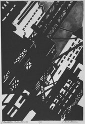 Mark Freeman (American, 1908-1975). Manhattan Construction, 1936. Lithograph, Sheet: 19 15/16 x 14 1/2 in. (50.6 x 36.8 cm). Brooklyn Museum, Emily Winthrop Miles Fund, 1994.24. © artist or artist's estate