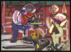 Romare Bearden (American, 1911-1988). Louisiana Serenade, 1979. Lithograph on cream wove paper, 24 3/8 x 33 7/8 in.  (61.9 x 86.0 cm). Brooklyn Museum, Gift of Eugene Schuster on behalf of Dynasen Galleries, New York, 1995.120. © artist or artist's estate