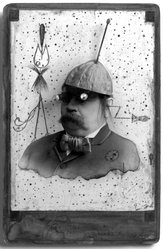 Gary Brotmeyer (American, born 1946). Soyuz II, (High on the Yuck Meter), 1985. Mixed media on gelatin silver photograph with wash and ink, image/sheet: 6 1/2 x 4 1/2 in. (16.5 x 11.4 cm). Brooklyn Museum, Gift of Eileen and Michael Cohen, 1995.204.3. © artist or artist's estate