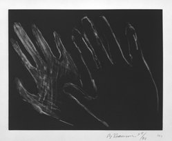 Bruce Nauman (American, born 1941). Untitled (Hands), 1990-1991. Drypoint with aquatint on paper, sheet: 16 11/16 x 19 3/8 in. (42.4 x 49.2 cm). Brooklyn Museum, Alfred T. White Fund, 1995.65.1. © artist or artist's estate