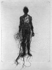 Lesley Dill (American, born 1950). Poem Body (I Am Afraid to Own a Body), 1995. Unique gelatin silver photograph, collaged fragments of photographs, thread, and charcoal, 19 13/16 x 15 15/16 in. (50.2 x 40.5 cm). Brooklyn Museum, Robert A. Levinson Fund, 1996.102. © artist or artist's estate