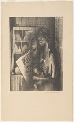 Norman Lewis (American, 1909-1979). Poll Tax, ca. 1938. Lithograph on cream wove Rives paper, Sheet: 18 x 10 3/4 in. (45.7 x 27.3 cm). Brooklyn Museum, Emily Winthrop Miles Fund, 1996.12.2. © artist or artist's estate