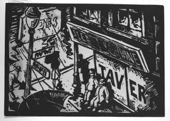 Calvin Burnett (American, born 1921). Tavern, 1942. Linocut on cream wove paper, Sheet (trimmed to block): 5 x 7 1/16 in. (12.7 x 17.9 cm). Brooklyn Museum, Emily Winthrop Miles Fund, 1996.14. © artist or artist's estate