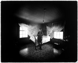 Emmett Gowin. Edith, Danville, Virginia (In Rennie's Guest Room-Curtains), 1970. Gelatin silver photograph, 8 x 10 in. (20.3 x 25.4 cm). Brooklyn Museum, Gift of David M. Saks and Aron Katz, by exchange, 1996.19. © Emmet Gowin