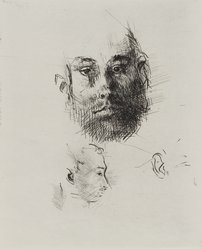 Jack Levine (American, 1915-2010). Studies of Heads, 1964. Etching, drypoint, and engraving, Image: 9 15/16 x 7 15/16 in. (25.2 x 20.2 cm). Brooklyn Museum, Gift of Peter R. Blum, 1996.223.10. © artist or artist's estate