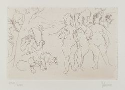 Jack Levine (American, 1915-2010). Judgement of Paris, 1964. Etching, Image: 5 7/8 x 8 7/8 in. (14.9 x 22.5 cm). Brooklyn Museum, Gift of Peter R. Blum, 1996.223.13. © artist or artist's estate