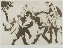 Jack Levine (American, 1915-2010). Rape of Sabines, 1965. Liftground and etching, Image: 8 x 10 3/4 in. (20.3 x 27.3 cm). Brooklyn Museum, Gift of Peter R. Blum, 1996.223.15. © artist or artist's estate