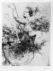 Jack Levine (American, 1915-2010). Nymph and Warlock, 1966. Etching and drypoint, Image: 9 5/8 x 7 1/2 in. (24.4 x 19.1 cm). Brooklyn Museum, Gift of Peter R. Blum, 1996.223.17. © artist or artist's estate