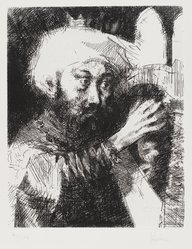 Jack Levine (American, 1915-2010). King David, 1963. Etching and drypoint, Image: 9 3/4 x 8 in. (24.8 x 20.3 cm). Brooklyn Museum, Gift of Peter R. Blum, 1996.223.7. © artist or artist's estate