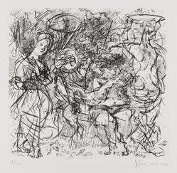 Jack Levine (American, 1915-2010). Woodstock Pastoral, 1950-1969. Etching, Image: 8 1/4 x 8 3/4 in. (21 x 22.2 cm). Brooklyn Museum, Gift of Peter R. Blum, 1996.223.9. © artist or artist's estate